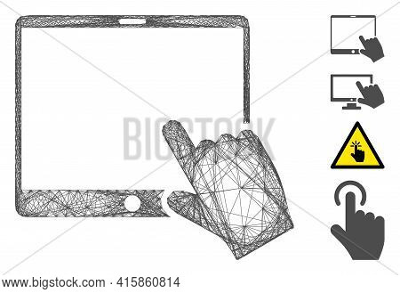 Vector Wire Frame Hand Pointer Tablet. Geometric Wire Frame 2d Network Made From Hand Pointer Tablet