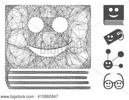 Vector Wire Frame Happy Book. Geometric Wire Frame Flat Net Based On Happy Book Icon, Designed From