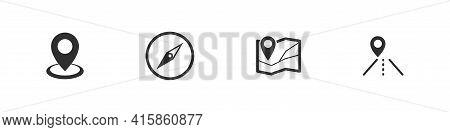 Navigation Vector Gps Symbol Icon Set, Navigator Sign Location Pointer Icons Flat Black Collection.
