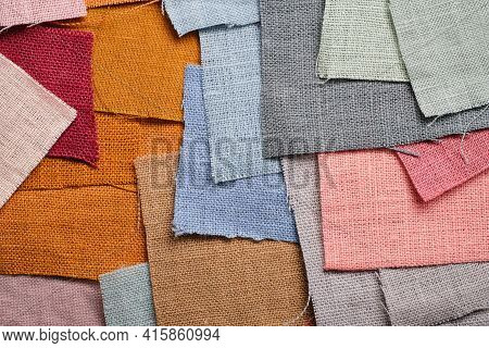 Scraps Of Natural Flax Of Different Colors. Pink, Gray, Blue, Mustard, Brown, Burgundy. Fashionable