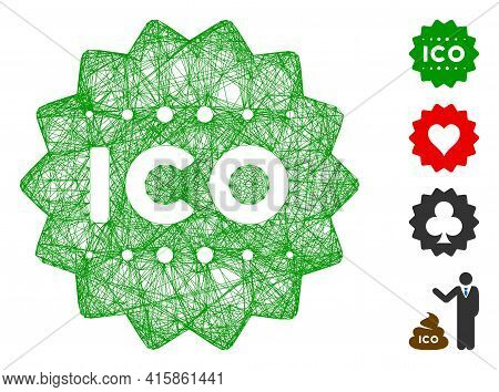 Vector Net Ico Token. Geometric Linear Carcass Flat Net Generated With Ico Token Icon, Designed With