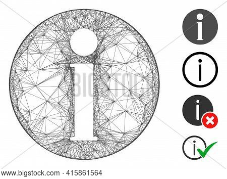 Vector Wire Frame Info. Geometric Wire Frame Flat Net Generated With Info Icon, Designed With Inters