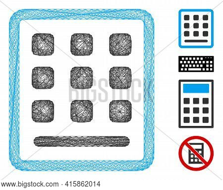 Vector Wire Frame Keypad. Geometric Wire Carcass Flat Net Made From Keypad Icon, Designed From Inter