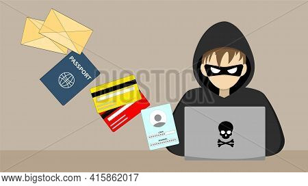 Hacker Behind A Laptop. Hacking Someone Elses Data. Hacking Computer Security. Vector Illustration