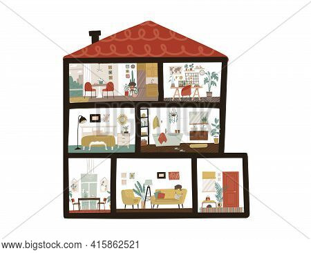 Large Detailed Modern House Interior. Dollhouse In Cut. Scandinavian Cote Style Of Furniture. Cutawa