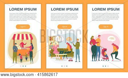 Happy Family Relationship Mobile Onboard App Set. Parent With Children At Street Food Fairy, Adult K