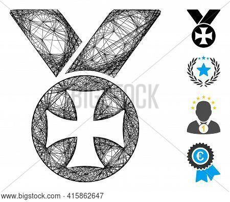 Vector Wire Frame Maltese Medal. Geometric Linear Frame 2d Net Based On Maltese Medal Icon, Designed