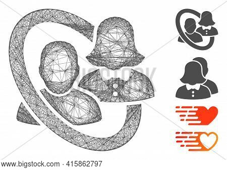 Vector Network Marriage Circle. Geometric Wire Frame Flat Network Made From Marriage Circle Icon, De