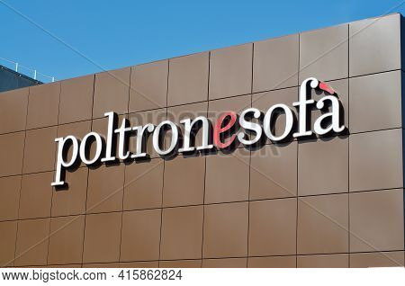 Grancia, Switzerland - 12th March 2021 : Poltronesofa (also Known As Poltronesofà) Sign Hanging Outs