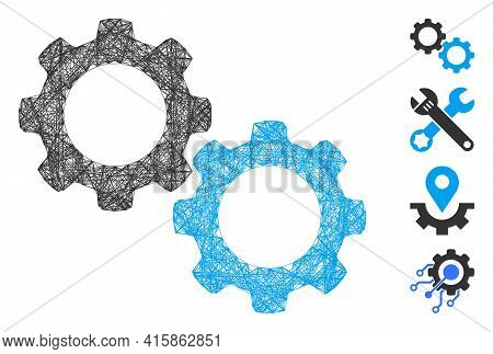 Vector Net Mechanical Gears. Geometric Wire Carcass 2d Net Generated With Mechanical Gears Icon, Des