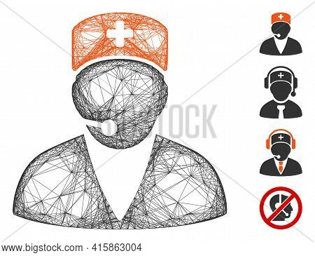 Vector Net Medical Operator. Geometric Hatched Frame 2d Net Generated With Medical Operator Icon, De