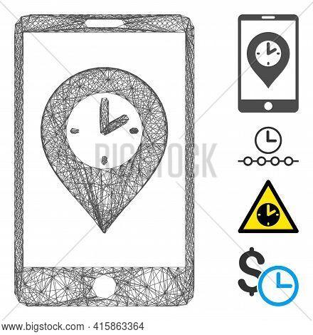 Vector Net Mobile Time Pointer. Geometric Linear Frame Flat Net Made From Mobile Time Pointer Icon,