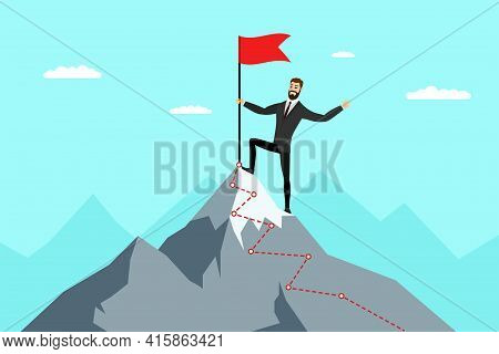 Successful Businessman With Red Flag On Mountain Peak. Business Man Climbing Up On Top Career Ladder