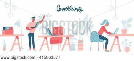 Coworking Space With Busy People Walking And Sitting At The Table. Comfortable Furniture. Business T