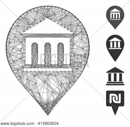 Vector Net Museum Marker. Geometric Linear Frame 2d Net Generated With Museum Marker Icon, Designed