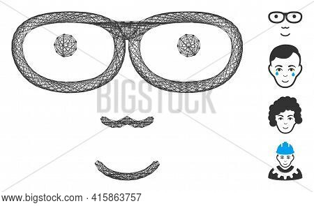 Vector Wire Frame Nerd Face. Geometric Wire Frame 2d Net Generated With Nerd Face Icon, Designed Fro