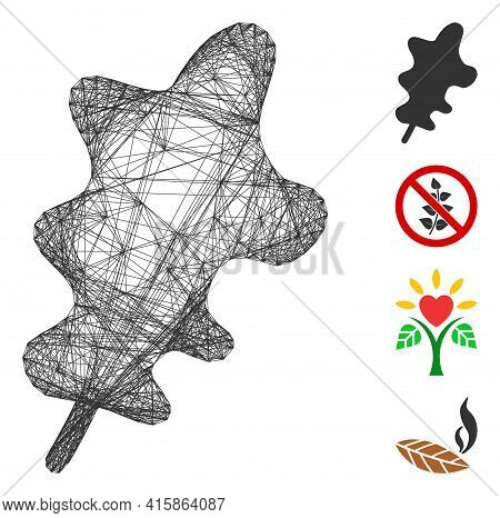 Vector Network Oak Leaf. Geometric Wire Frame 2d Net Generated With Oak Leaf Icon, Designed With Cro