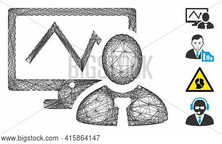 Vector Wire Frame Online Trader. Geometric Wire Frame Flat Net Generated With Online Trader Icon, De