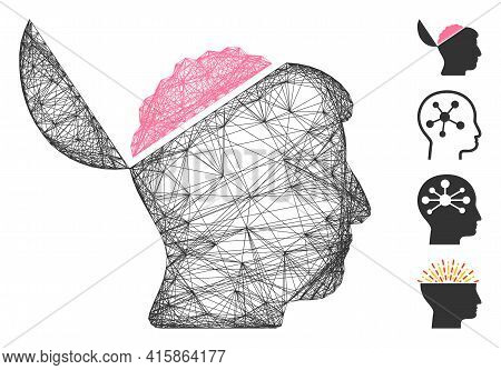 Vector Network Open Brain. Geometric Hatched Carcass 2d Network Made From Open Brain Icon, Designed