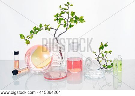 Natural Green Laboratory. Abstract Floral Design. Orange Liquid Product In Chemical Jar. Reflections
