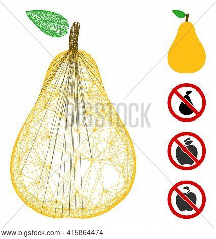 Vector Wire Frame Pear. Geometric Wire Frame Flat Network Generated With Pear Icon, Designed With Cr