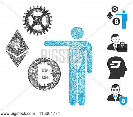Vector Wire Frame Person Show Cryptocurrency. Geometric Wire Carcass 2d Net Made From Person Show Cr