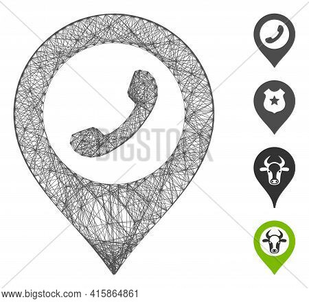 Vector Network Phone Marker. Geometric Wire Frame Flat Network Made From Phone Marker Icon, Designed