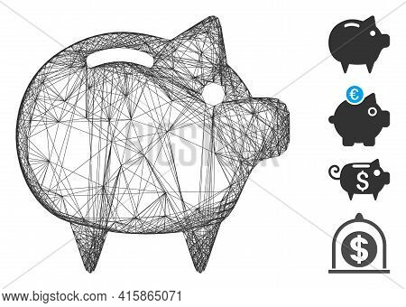 Vector Network Piggy Bank. Geometric Wire Carcass 2d Network Made From Piggy Bank Icon, Designed Fro