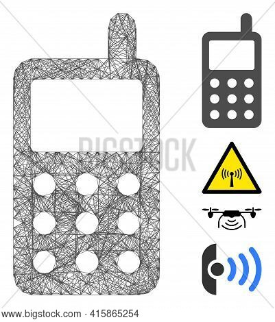 Vector Network Portable Radio Transmitter. Geometric Hatched Carcass 2d Network Made From Portable R