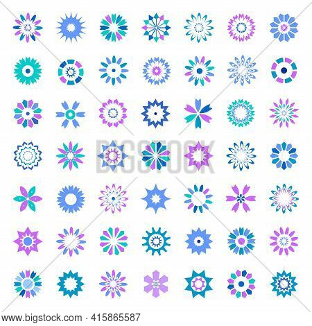 Design Elements Set. 49 Abstract Round Icons In Flower And Star Shape. Vector Art.