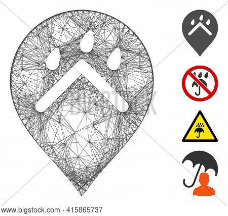 Vector Network Rain Protection Marker. Geometric Linear Carcass 2d Network Made From Rain Protection