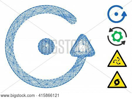 Vector Wire Frame Rotation. Geometric Wire Carcass Flat Network Made From Rotation Icon, Designed Fr