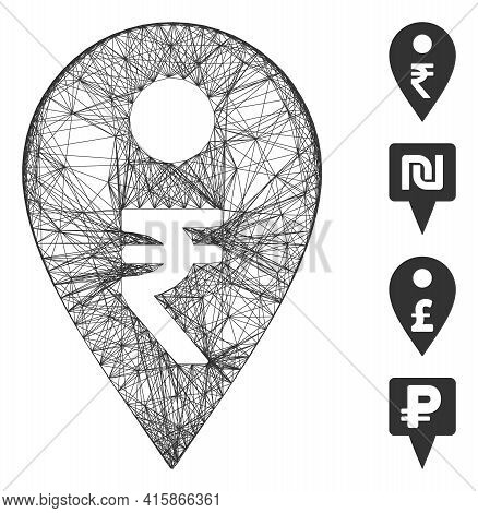 Vector Wire Frame Rupee Map Marker. Geometric Wire Frame 2d Network Generated With Rupee Map Marker