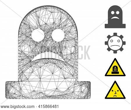 Vector Network Sad Tomb. Geometric Wire Frame 2d Network Generated With Sad Tomb Icon, Designed With