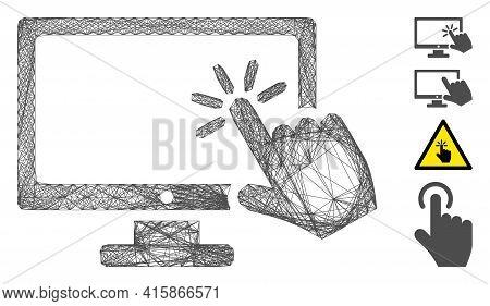 Vector Wire Frame Screen Click. Geometric Wire Frame 2d Network Made From Screen Click Icon, Designe