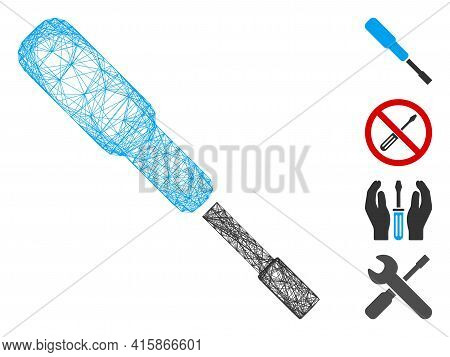 Vector Wire Frame Screwdriver. Geometric Wire Frame Flat Network Generated With Screwdriver Icon, De