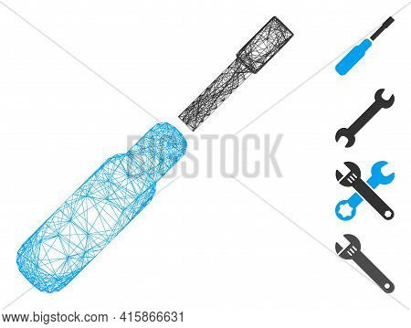 Vector Network Screwdriver. Geometric Wire Frame 2d Network Made From Screwdriver Icon, Designed Fro