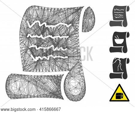 Vector Wire Frame Script Roll. Geometric Wire Frame Flat Network Based On Script Roll Icon, Designed
