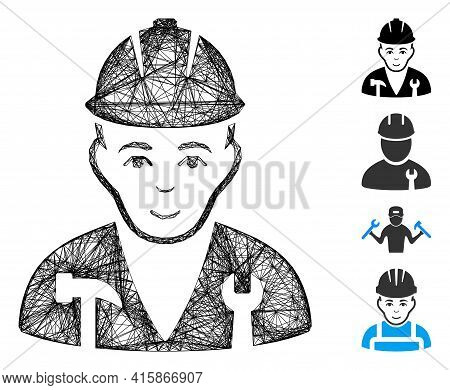 Vector Network Serviceman. Geometric Linear Carcass Flat Network Generated With Serviceman Icon, Des