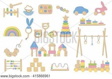 Children Wooden Toys Set. Montessori System For Early Childhood Development. First Toys For Educatio