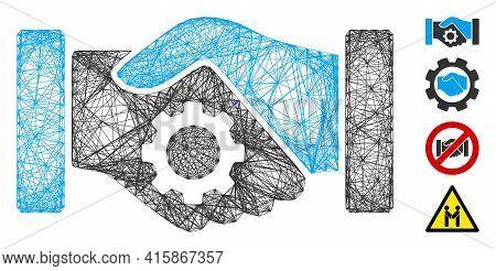 Vector Net Smart Contract Handshake. Geometric Wire Frame 2d Net Generated With Smart Contract Hands