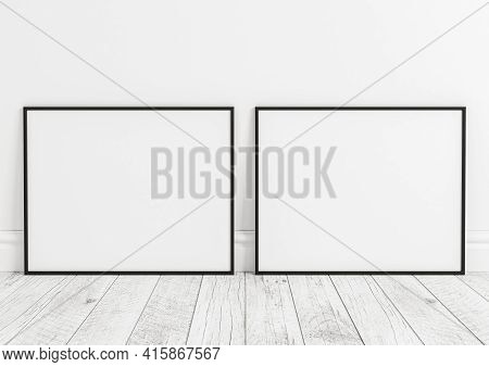 Double 8x10 Horizontal Black Frame Mockup On Wooden Floor And White Wooden Wall. Two Empty Poster Fr