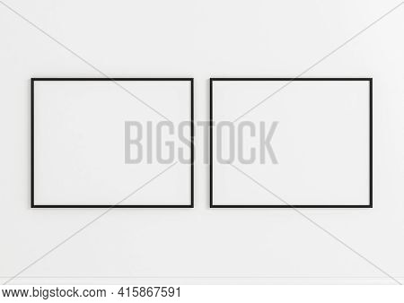 Double 8x10 Horizontal Black Frame Mockup On White Wooden Wall. Two Empty Poster Frame Mockup On Whi