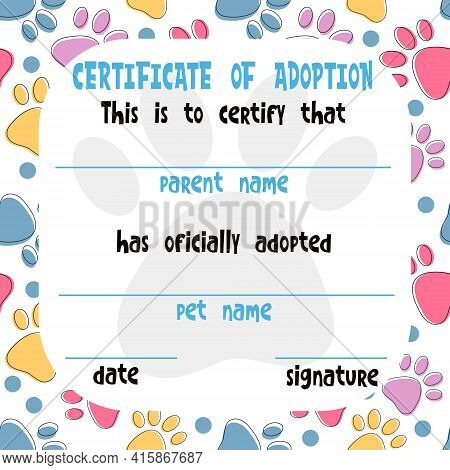 Pet Adoption Certificate Vector Template Design. Printable Page For Pet Shelter, Pet Shops, Vets. Cu