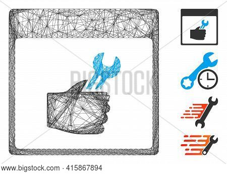 Vector Wire Frame Spanner Service Hand Calendar Page. Geometric Hatched Frame Flat Network Made From