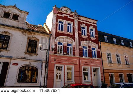 Narrow Picturesque Street With Colorful Houses In Historic Center In Medieval Town, Gothic, Renaissa