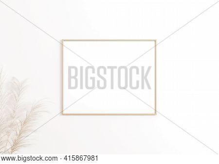 Single 8x10 Horizontal Beige Frame Mockup With Boho Style Decorations On White Wall. One Empty Poste