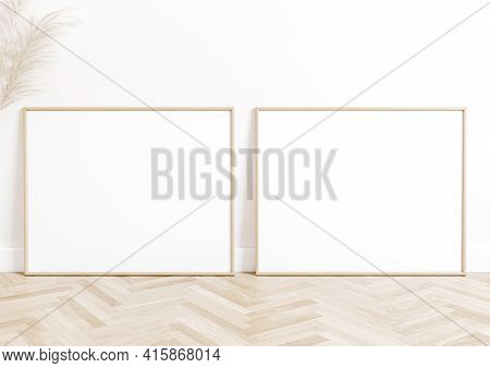 Double 8x10 Horizontal Beige Frame Mockup On White Floor And White Wall. Two Empty Poster Frame Mock