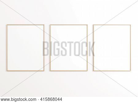 Triple 8x10 Vertical Beige Frame Mockup On White Wall. Three Empty Poster Frame Mockup On White Back