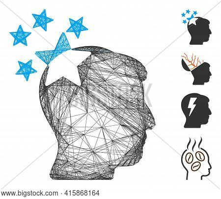 Vector Wire Frame Stars Hit Head. Geometric Hatched Frame Flat Net Made From Stars Hit Head Icon, De